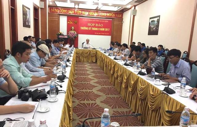 Hội nghị họp báo thường kỳ tháng 9 của tỉnh Quảng Ninh. Ảnh: Đ.Tùy