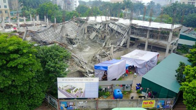 Hiện trường vụ sập công trình xây dựng trường mầm non Vườn Xanh. (Ảnh: Toàn Vũ)