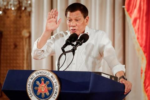 Tổng thống Philippines Rodrigo Duterte phát biểu tại một sự kiện ở Thủ đô Manila ngày 16-8-2017
