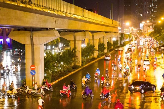 Hà Nội: Bất chấp đêm tối, trời mưa, hàng chục công nhân vẫn miệt mài trồng cau cảnh dưới đường tàu trên cao - Ảnh 2.