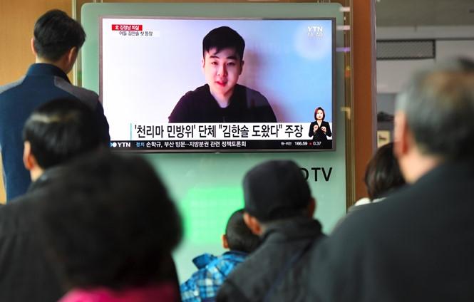Kim Han-sol phát biểu về cuộc giải cứu trong một đoạn video được nhóm Dân phòng Cheollima đăng tải /// AFP