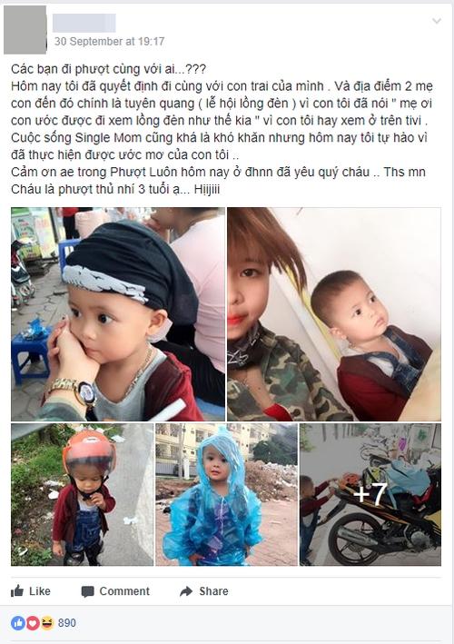 Bà mẹ đơn thân 9X dẫn con trai 3 tuổi đi phượt Tuyên Quang để thực hiện uớc mơ cho con xem lễ hội đèn lồng một lần - Ảnh 1.