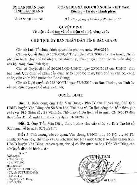 Quyết định điều động bổ nhiệm ông Trần Văn Dũng về giữ chức Phó giám đốc Sở VHTT&DL tỉnh Bắc Giang.