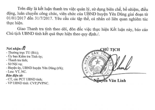 Chủ tịch tỉnh Bắc Giang Nguyễn Văn Linh vừa ký kết luận thanh tra chỉ rõ hàng loạt sai phạm tại UBND huyện Yên Dũng.