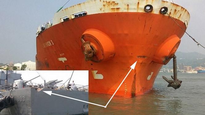 Cận cảnh vết lõm trên thân cả hai tàu /// maritimebulletin.net