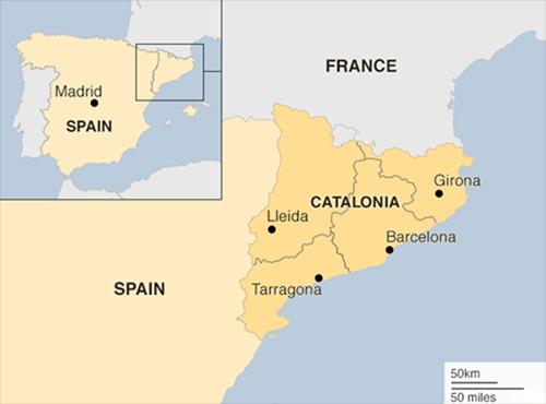 Vị trí vùng Catalonia, Tây Ban Nha. Đồ họa: BBC.