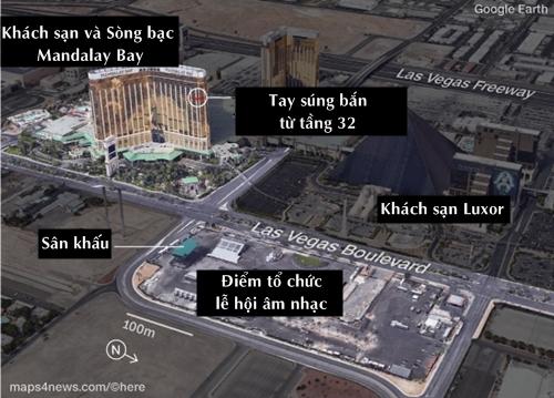 Vị trí khách sạn Mandalay Bay và khu vực tổ chức lễ hội âm nhạc. Đồ họa: CNN.