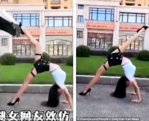 """Người phụ nữ này còn khoe khả năng uốn dẻo của cơ thể và một đôi chân dài thẳng tắp với cú xoạc chân… """"thẳng như một đường kẻ""""."""
