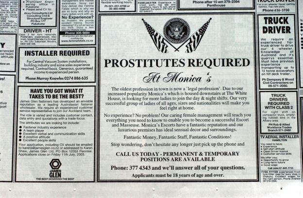 Quảng cáo tuyển dụng gái mại dâm của một nhà thổ ở New Zealand. (Ảnh: Getty)
