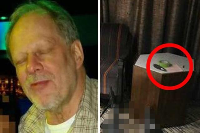 Nghi phạm Stephen Paddock cùng mẩu giấy, cuộn băng keo và chiếc bút được tìm thấy bên trong phòng khách sạn hắn thuê ở tầng 32 (Ảnh: Dailystar)