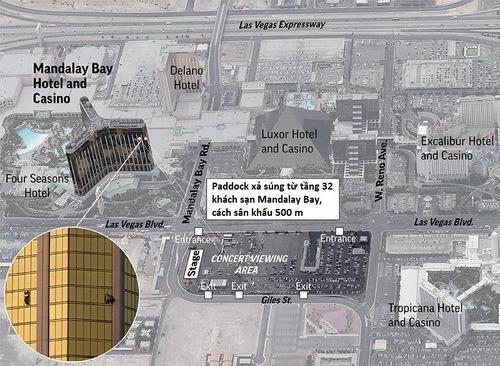 Vị trí xảy ra vụ xả súng. Đồ họa: AP.