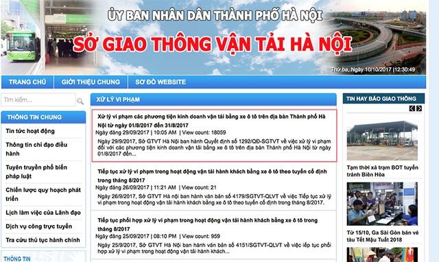Thông tin trên trang web của sở Giao thông Vận tải Hà Nội