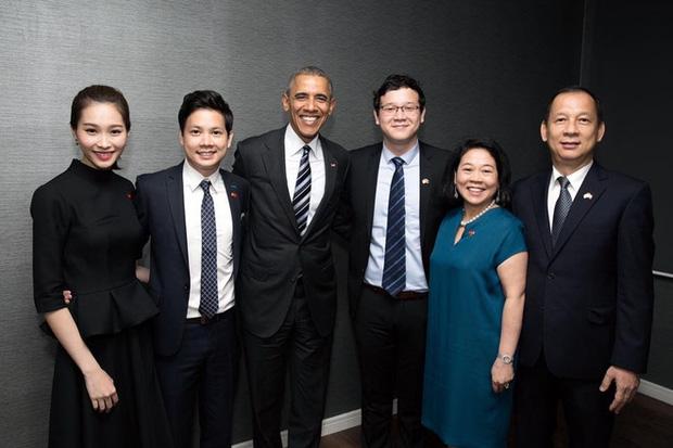 Thu Thảo và Trung Tín trong cuộc gặp gỡ Nguyên Tổng thống Mỹ Barack Obama vào tháng 5/2016.