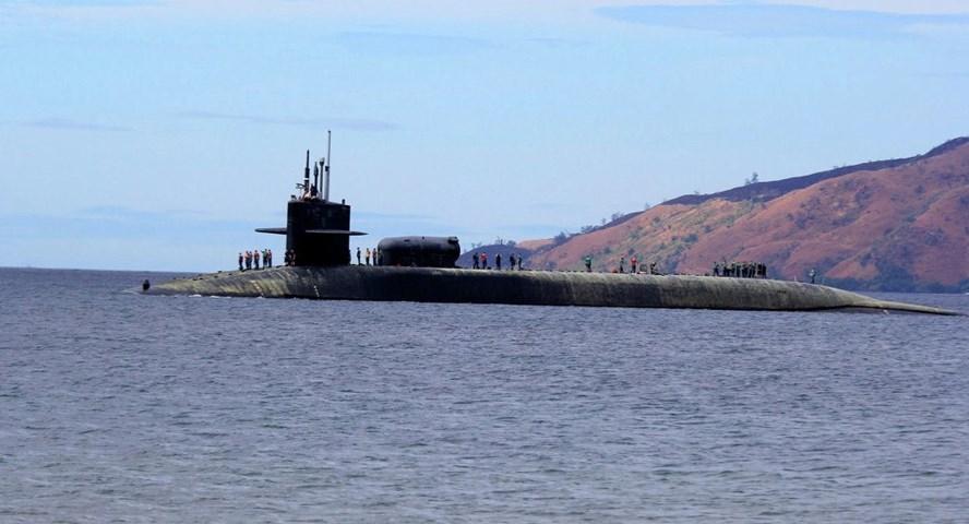 Tàu ngầm hạt nhân USS Michigan. Ảnh: AP