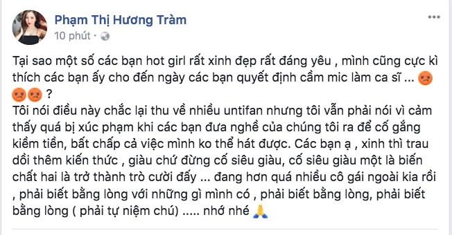 Bi cho la viet status che Chi Pu hat do, Huong Tram len tieng hinh anh 1