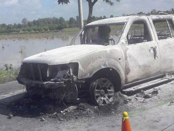 Khởi tố vụ án ôtô 7 chỗ cháy trơ khung ở Hậu Giang