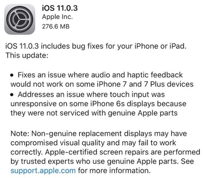 Apple phát hành iOS 11.0.3, bản cập nhật thứ tư trong bốn tuần qua