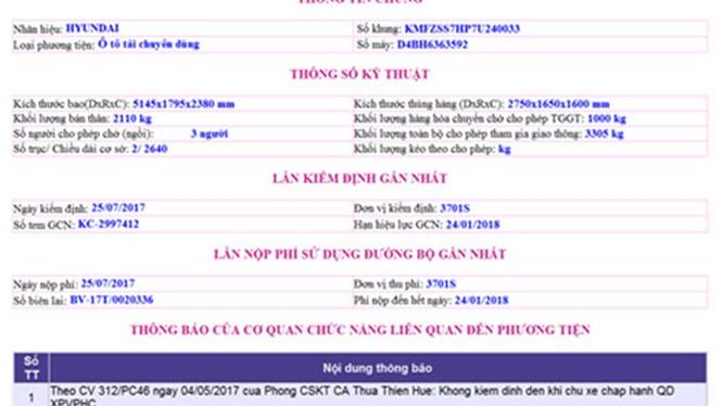 Thông tin bị phạt của xe được hiển thị trên trang Web /// Ảnh minh hoạ M.H
