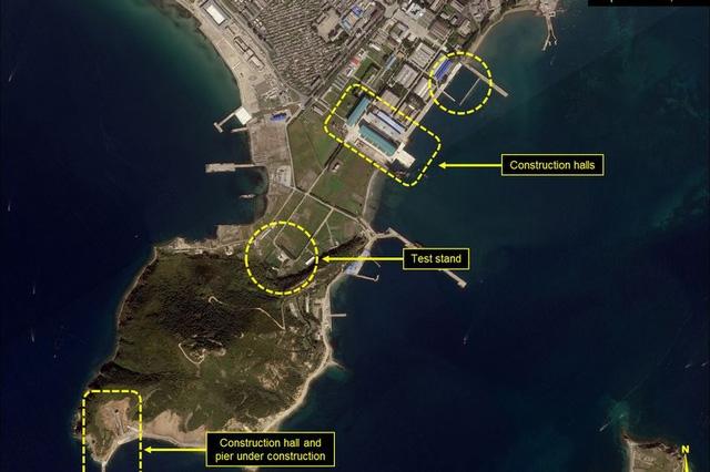Ảnh vệ tinh chụp xưởng đóng tàu Nam Sinpo của Triều Tiên từ trên cao (Ảnh: 38 North)