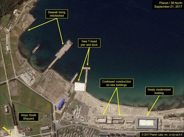 Nhiều công trình mới được xây dựng hoặc nâng cấp tại xưởng đóng tàu Nam Sinpo (Ảnh: 38 North)