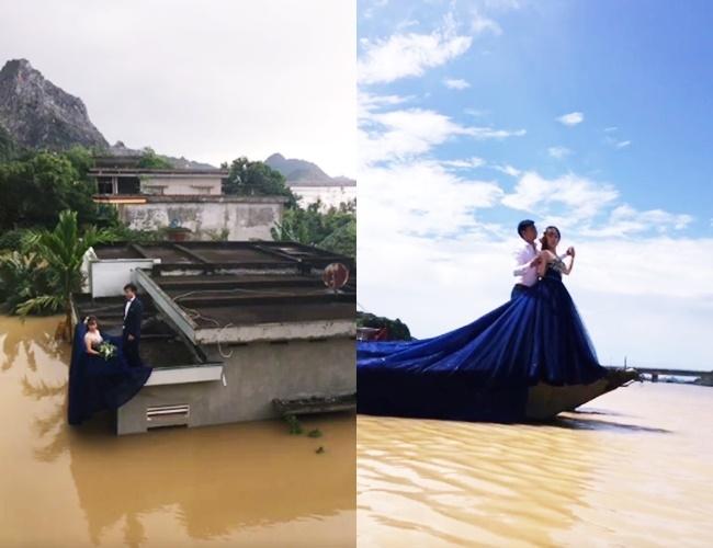 Trong mưa lũ lịch sử ở Ninh Bình, cô dâu chú rể vẫn chịu khó... leo nóc nhà để chụp ảnh cưới - Ảnh 3.