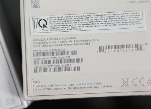 Ngoài mà VN/A, iPhone 8 và 8 Plus phân phối chính hãng từ FPT cũng có mã LL và ZP.