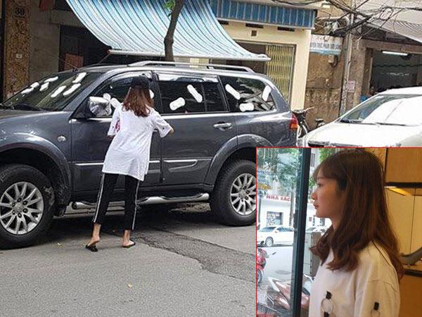 Cô gái dán băng vệ sinh lên xe ô tô: