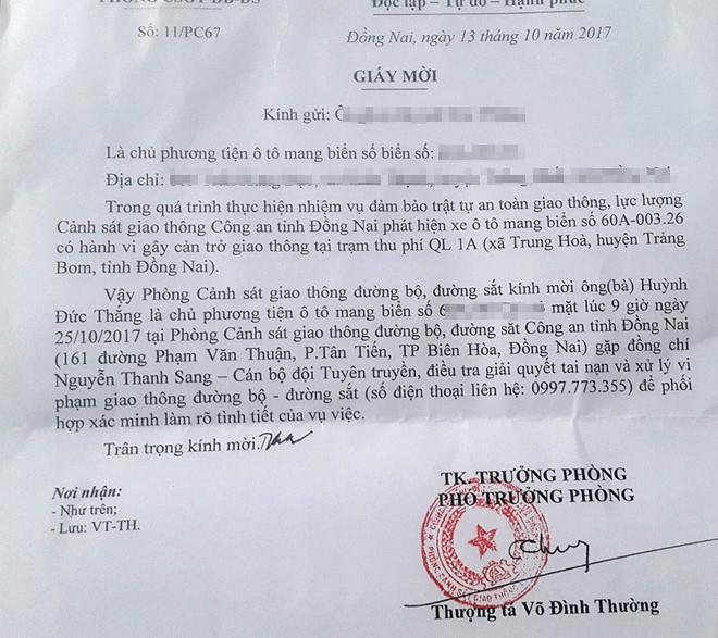 Pho phong CSGT Dong Nai thua nhan tung bi ky luat vi mai lo hinh anh 1
